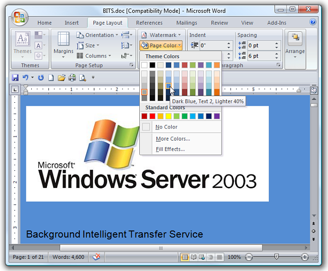 How to change the background color in Microsoft Word 2007